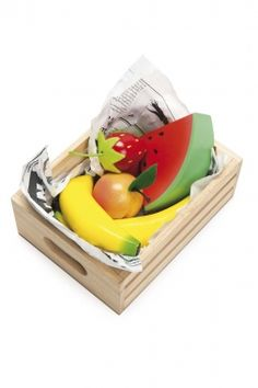 Le Toy Van Play Food Bundle Save 15% when you buy all six sets of the ever popular play food crates from Le Toy Van. These wonderful deluxe pretend food crates are perfect for home play as well as in nurseries and classrooms.  This fantastic collection comprises:      Harvest Vegetables     Smoothie Fruits.     Fresh Fish.     Bunch of Blooms.     Baker's Basket.     Eggs and Dairy.
