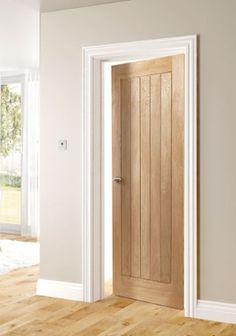 Choosing interior doors for the home can be a daunting process. Like many types of wood doors, oak interior doors have many options to choose from. 5 Panel Doors, Windows And Doors, Front Doors, Oak Fire Doors, Oak Interior Doors, Cottage Doors Interior, Hallway Colours, Hallway Colour Schemes, Madeira Natural