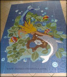 """Mosaico Painel Ducha """"Sereia e Golfinho"""""""