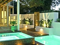 Pool and spa in your entertaining area house in 2019 дом меч Swimming Pool Decorations, Backyard Bbq Pit, Townhouse Garden, Backyard Layout, Diy Patio, Pool Houses, Backyard Landscaping, Diys, Planters