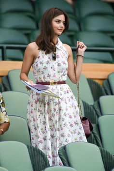 Jenna Coleman oozes summer chic in an elegant floral shirt dress Doctor Who, Eleventh Doctor, Jenna Coleman Style, Summer Outfits, Summer Dresses, Formal Outfits, Floral Shirt Dress, Summer Chic, Wimbledon