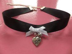 Black Cosplay Paw Print Charm Tag ID Cat Collar Choker Necklace Human Pet Slave BDSM Costume
