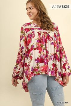 22c92ccccd4af9 Umgee floral long bell sleeve tunic top Plus XL-2X  umgee  Tunic