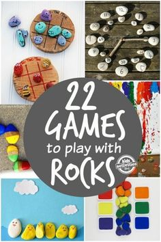 22 Fun, engaging games to play with rocks. So simple! Great for toddlers and preschoolers Activities with rocks that are educational and provide a lot of fun for kids. 22 game ideas will keep your little ones busy for a while. Great learning through play. Summer Activities, Preschool Activities, Children Activities, Games For Kids, Games To Play, Learning Games, Rock Games, Story Stones, Rock Crafts