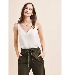 ce9cc3f8e1 See more. Dynamite V-Neck Cami SNOW WHITE Faux Leather Skirt, Going Out  Tops, Jeans