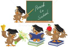 Set Owl teacher Back to School Royalty Free Vector Image , Teacher Posters, School Posters, Professor, Owl School, Happy New Year Text, Snow Vector, Oktoberfest Beer, Cloud Vector, Cartoon Posters