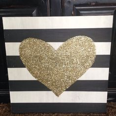 Nothing goes better together than black, white, and gold (in my humble opinion :) And gold glitter makes everything prettier. This sign will make a