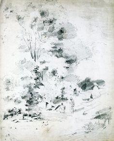 6-33 Camille Pissarro, Wooded Landscape on St. Thomas, 1854-55. Pencil, 34.5 x 27.7 cm. Oxford, Ashmolean Museum.