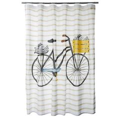 Shower Curtain 100% Cotton PVC Free   Bicicletta (bicycle)
