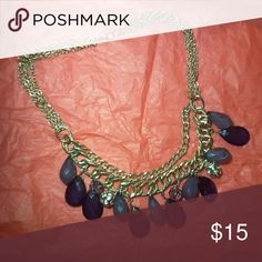 Gold Statement Necklace with Navy Blue Jewels Has some Silver jewels and in good contact, in good condition. A thick gold band & very stylish Ann Taylor Factory Jewelry Necklaces
