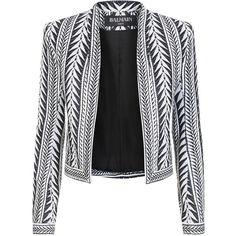 Balmain Printed Jacquard Blazer ($2,070) ❤ liked on Polyvore featuring outerwear, jackets, blazers, balmain, coats, cropped blazer jacket, cropped jacket, tailored jacket, balmain blazer and open front blazer