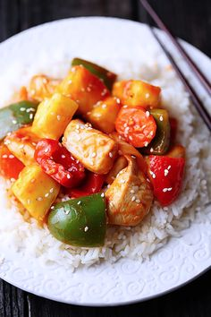 Lighter Sweet & Sour Chicken. This recipe looks fantastic & offers a healthy way to satisfy the craving for this dish.