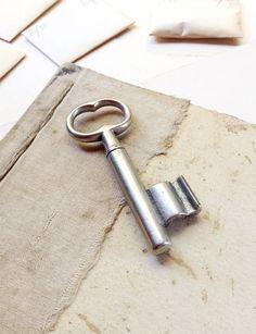 Silver Vintage Door Key Chunky Cast Key by MyVintageSupplies Antique Keys, Vintage Keys, It Cast, Silver, Handmade, Stuff To Buy, Old Keys, Craft, Arm Work