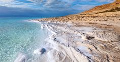 The Dead Sea coastline. The Dead Sea borders Jordan, Palestine and Israel. Because of high salt content, it feels like you are floating even when swimming. The Tourist, Places Around The World, Around The Worlds, Totes Meer, Le Vatican, Dead Sea Cosmetics, San Pedro, Beach Scenery, Wadi Rum