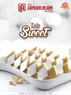 Kaju Sweet is a rich scrummy fudge with a divine creamy texture that will fill in your mouth slowly. Enjoy this rich sweet from Srijanakiram Hotels  #srijanakiram #Sweet #kaju_sweet