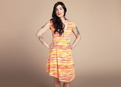 """""""Sunset Stripes"""" - Threadless.com  Poly and rayon blend dress with lined skirt and asymmetrical hem. Made in USA.  USD$59.50"""