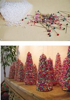 mini tree  this just shows pic of pins w/colored ball heads & beads.  I would have to micro mini ones!  still good looking idea