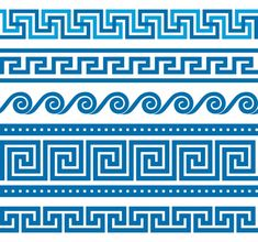 Find Collection Vector Antique Greek Border Ornaments stock images in HD and millions of other royalty-free stock photos, illustrations and vectors in the Shutterstock collection. Thousands of new, high-quality pictures added every day. Wave Pattern, Pattern Art, Pattern Design, Border Pattern, Pattern Background, Design Design, Greek Garden, Greek Blue, Greek Key