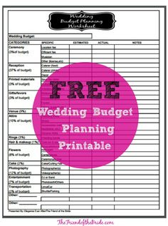 Wedding Budget Worksheet - LinenTablecloth.com Blog   Weddings ...