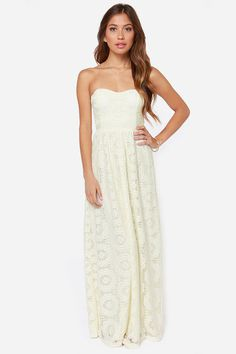 19bf31b5e8af No Less Than Flawless Strapless Cream Lace Maxi Dress