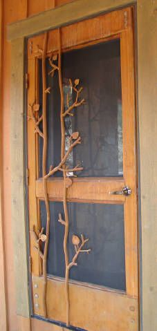 Iron Screen Door Twig and Aspen Leaf Detail Wooden Screen Door, Diy Screen Door, Screen Doors, Cabin Porches, Country Porches, Southern Porches, Antler Lights, Aspen Leaf, Cool Doors