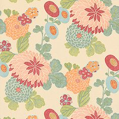 Thinking about this gorgeous wallpaper for girls bathroom.  Thibaut Chelsea - Coco - Wallpaper - Cream