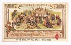 Un pardon en Bretagne - Religion - Chromo Chocolat Guerin Boutron - Trade Card