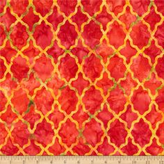 Designed for Michael Miller Fabrics, this Indonesian batik is perfect for quilting, apparel and home décor accents. Colors include yellow, green and coral red.