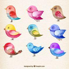 Pájaros en acuarela