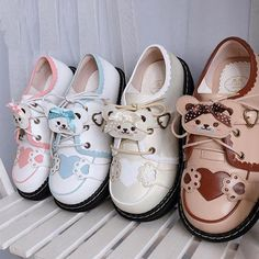 Material: PU, Rubber Sole Shoes Type:Flat Heel Hight: 3-5cm Closure Type: Lace Up Toe Style: Round Toe Pattern Type: Bear Color: Khaki, Black, Brown, Pink White,Blue White,Beige Season: Spring, Summer, Autumn, Winter Size: 35~41 (Please check the product image for specific size info.) Note: The shoes may be a little hard to avoid lint, blemishes, slightly off color, the smell of glue. All measurements are approximate and can vary slightly. Please check size info. before order. Kawaii Shoes, Kawaii Clothes, Sock Shoes, Shoe Boots, Baby Shoes, Cute Shoes For Teens, Cute Bears, Mary Jane Shoes, Types Of Shoes