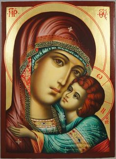 High quality hand-painted Orthodox icon of Virgin Mary Glykofilousa (halo relief). BlessedMart offers Religious icons in old Byzantine, Greek, Russian and Catholic style. Byzantine Icons, Byzantine Art, Religious Icons, Religious Art, Catholic Art, Catholic Traditions, Roman Catholic, Jesus E Maria, Paint Icon