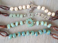 Beaded leather bracelet 'slashKnots slipKnots' BOTTLECAP, seafoam green opal, layering stack bracelet, boho chic. $32.00, via Etsy.