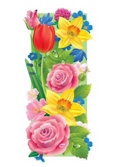 The Letter I ~ Spring Garden Alphabet Birthday Logo, Birthday Numbers, Birthday Cards, My Spring, Spring Garden, All Flowers, Spring Flowers, Decoupage, Floral Letters
