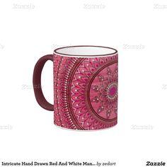 Intricate Hand Drawn Red And White Mandala Ringer Coffee Mug