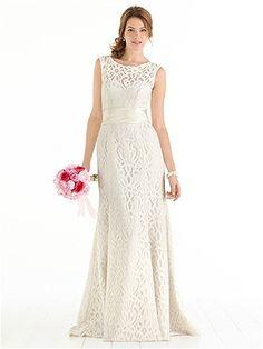 After Six Bridal Style 1041 - sleeveless modern lace dress with wide matching matte satin sash.