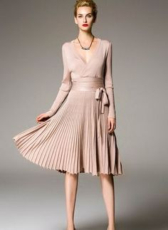 Apricot Violet Polyester Plain Long Sleeve Knee Length Dresses - Summer Outfits for Work Beauty And Fashion, Cute Fashion, Look Fashion, Womens Fashion, Fashion Design, V Neck Midi Dress, Dress Skirt, Dress Up, Chic Outfits