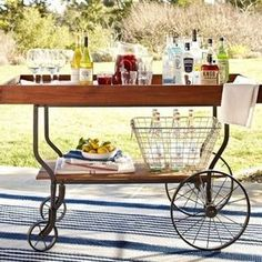 Tavern Bar Cart - contemporary - patio furniture and outdoor furniture - Pottery Barn Outdoor Bar Furniture, Cool Furniture, Furniture Ideas, Patio Bar, Backyard Patio, Outdoor Bar Cart, Outdoor Benches, Potting Benches, Drink Cart