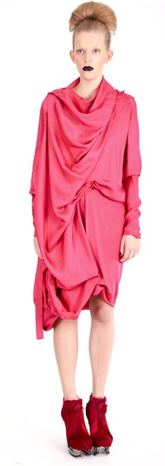 Dress ( viscose), shoes ( leather, stain-less steel heel)