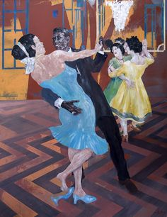 """The Dancing Lesson - This contemporary tableau was created by the renowned figurative artist Martin Wallace from his Brittany studio in France in 2009.   Acrylic on panel.  Dimensions: 120cm x 95cm approx.  """"The elegant instructor has an obvious and powerful attraction for his charming pupil: a mature mulatresse. Their sensual evolutions are whistfully observed by another dancing pupil regretfully practicing, without passion, with a female partner"""". Martin Wallace"""