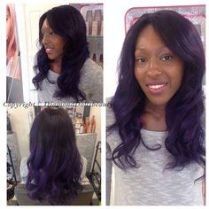 Famoushair Brazilian weave custom coloured purple .... Installed, coloured and hair provided by Diamond dolls beauty