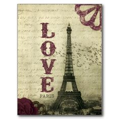 Vintage Paris Post Card  Idea for placecard - KATE instead of LOVE?