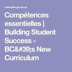 Compétences essentielles | Building Student Success - BC's New Curriculum Curriculum, My Building, Student Success, Education, Resume, Teaching, Training, Educational Illustrations, Learning