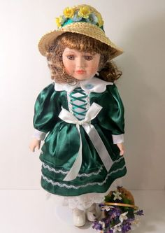 """TIMELESS TREASURES PORCELAIN COLLECTIBLE VICTORIAN DOLL 16"""" WITH STAND"""