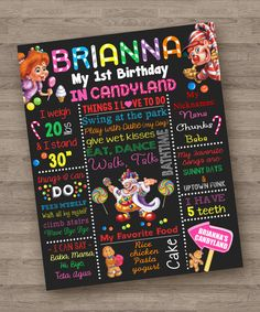 Hey, I found this really awesome Etsy listing at https://www.etsy.com/listing/274418062/candyland-game-girl-theme-chalkboard