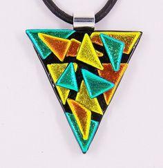 Fused Glass Dichroic Pendant