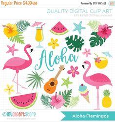 50% OFF SALE Clipart - Aloha Flamingo Clipart - Tropical Clipart / Surf / Beach / Summer - Digital Clip Art (Instant Download)