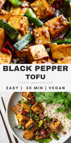 Simple tofu dish in sweet and salty sticky sauce with green onions and spicy peppers makes a quick and easy lunch or dinner, ready in about 30 minutes. Healthy Weeknight Meals, Vegan Recipes Easy, Veggie Recipes, Whole Food Recipes, Cooking Recipes, Asian Tofu Recipes, Tofu Dinner Recipes, Cooking Tofu, Recipes With Tofu Healthy