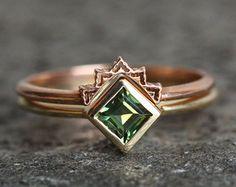 Sunset Ring Set Unique Wedding Ring Set Sapphire Ring by MinimalVS