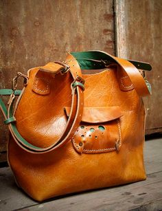 Brown leather handstitched bag