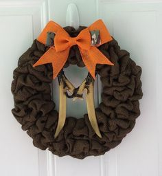 Burlap wreath in brown w/ orange/camo bow & deer antler initial - initial wreath - personalized wreath- hunting wreath - man cave - hunting